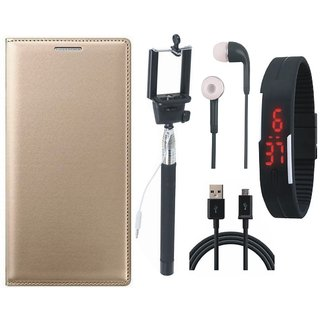 Coolpad Note 3 Premium Leather Cover with Selfie Stick, Digtal Watch, Earphones and USB Cable