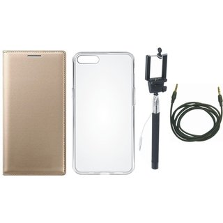Coolpad Note 3 Premium Leather Cover with Silicon Back Cover, Selfie Stick and AUX Cable