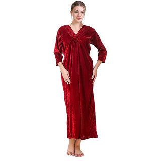 Buy Grand Bear Laced Velvet Night Wear Dress(Nighty) Online   ₹699 ... ac6198fdf