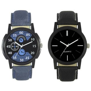 Infinity Enterprise New Fashion 002-005 Fast Selling 2 Combo branded Leather Analog Watch - For Boys and Men