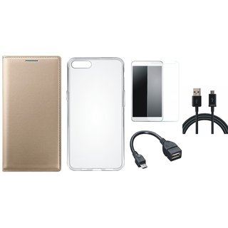 Coolpad Note 3 Lite Premium Leather Cover with Silicon Back Cover, Tempered Glass, OTG Cable and USB Cable