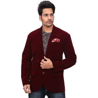 Conway Maroon Party Wear Velvet Blazer For Mens
