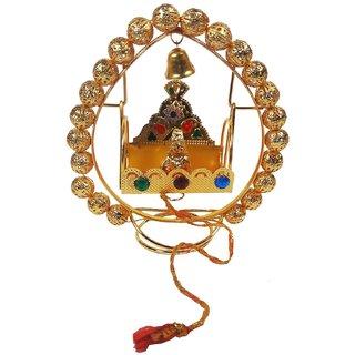 Eye-catching Golden Color Medium Gajara Jhula With Laddu Gopal-3.6 Inches