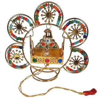 Eye-catching Multicolor Kamal Jhula With Laddu Gopal-5x5x1.5 Inches
