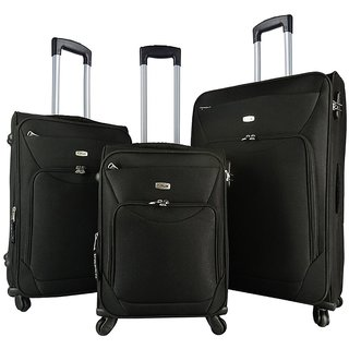 Timus Upbeat Spinner 4 Wheel Strolley Suitcase SET OF 3 Expandable Cabin and  Check-in Luggage - 28 inch (Black)