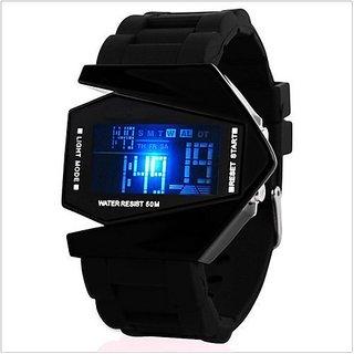 NG Black Roket LED Metal Dile Rubber Belt Best Designing Stylist Looking Digital Sport Watch For Men Boys