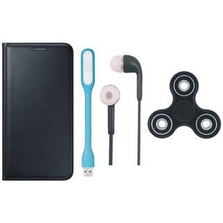 Lenovo K6 Power Leather Flip Cover with Spinner, Earphones and USB LED Light