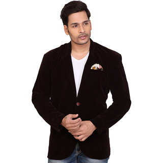 Conway Brown Party Wear Velvet Blazer For Men