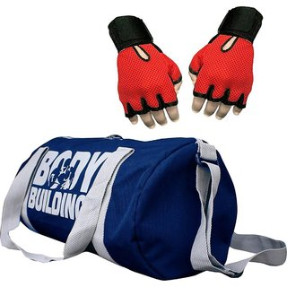 CP Bigbasket Combo Set Polyester 40 Ltrs Blue Sport Gym Duffle Bag, Netted Gym  Fitness Gloves (Red)