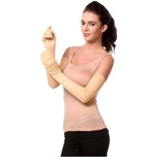 Tahiro Beige Cotton Full Arm Gloves- Pack Of 1