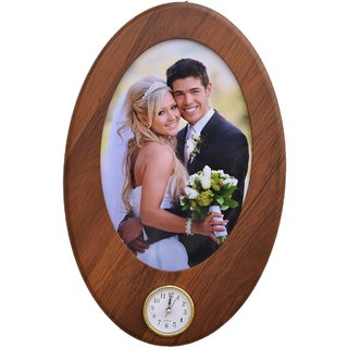 WOODEN HANGING PHOTO FRAME WITH CLOCK SIZE(8 BY 12) SET OF 1