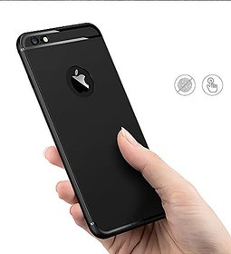 Soft Silicone With Anti Dust Plugs Shockproof Slim Back Cover Case For Iphone 6/6S ,Black