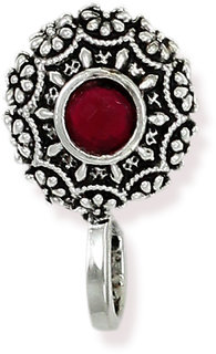 Zaveri Pearls Circular Shape Silver Antique Clip-on Nosepin-ZPFK6439