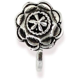 Zaveri Pearls Circular Shape Silver Antique Clip-on Nosepin-ZPFK6432
