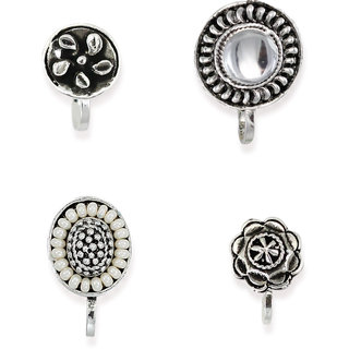 Zaveri Pearls Combo of 4 Dark Antique Silver Clip-On NosePin-ZPFK6495
