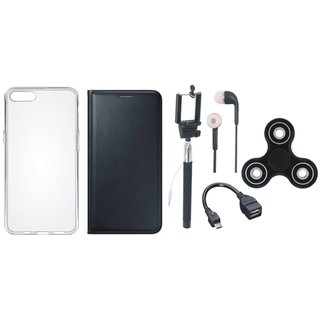 Lenovo A6600 Leather Flip Cover with Spinner, Silicon Back Cover, Selfie Stick, Earphones and OTG Cable