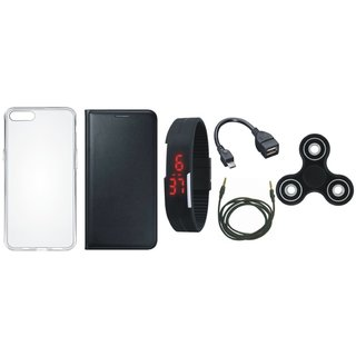 Lenovo A6600 Leather Flip Cover with Spinner, Silicon Back Cover, Digital Watch, OTG Cable and AUX Cable