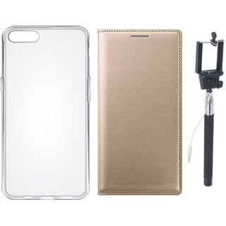 Lenovo A6600 Leather Flip Cover with Silicon Back Cover, Free Silicon Back Cover and Selfie Stick