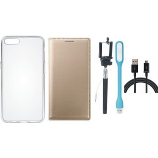 Lenovo A6600 Leather Flip Cover with Silicon Back Cover, Selfie Stick, USB LED Light and USB Cable