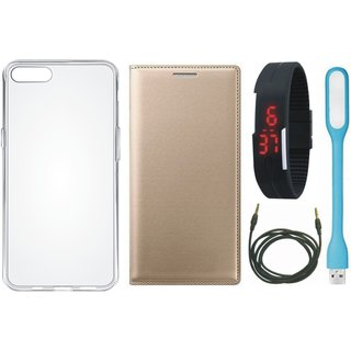 Lenovo A6600 Leather Flip Cover with Silicon Back Cover, Digital Watch, USB LED Light and AUX Cable