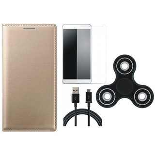 Lenovo A6600 Leather Flip Cover with Spinner, Tempered Glass and USB Cable