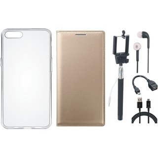 Lenovo A6600 Leather Flip Cover with Silicon Back Cover, Selfie Stick, Earphones, OTG Cable and USB Cable