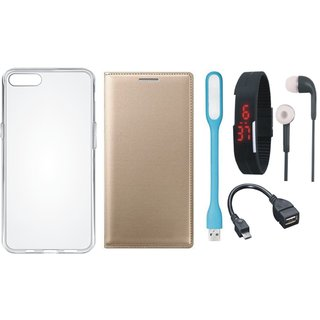 Lenovo A6600 Leather Flip Cover with Silicon Back Cover, Digital Watch, Earphones, USB LED Light and OTG Cable