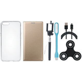 Lenovo A6600 Leather Flip Cover with Spinner, Silicon Back Cover, Selfie Stick, USB LED Light and USB Cable