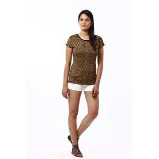 RIVI Designer Brown Polyester Half Sleeves Body Blouse Women's Top (RV017)