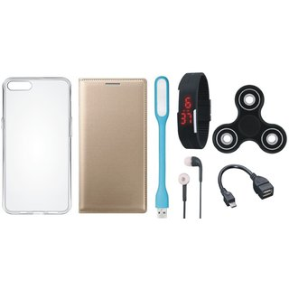 Lenovo A6600 Leather Flip Cover with Spinner, Silicon Back Cover, Digital Watch, Earphones, USB LED Light and OTG Cable