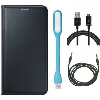 Lenovo A6600 Plus Leather Flip Cover with USB LED Light, USB Cable and AUX Cable