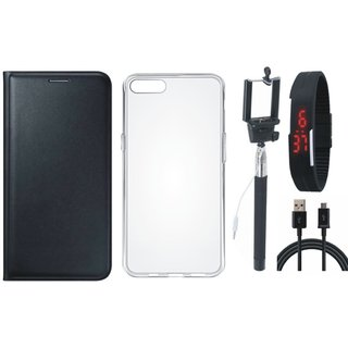 Lenovo A6600 Premium Leather Cover with Silicon Back Cover, Selfie Stick, Digtal Watch and USB Cable