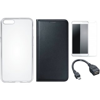 Lenovo A6600 Premium Leather Cover with Silicon Back Cover, Tempered Glass and OTG Cable