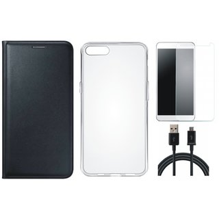 Lenovo A6600 Plus Leather Flip Cover with Silicon Back Cover, Tempered Glass and USB Cable