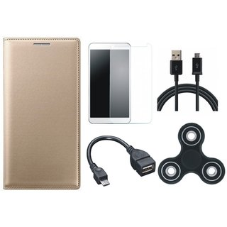 Lenovo A6600 Premium Leather Cover with Spinner, Tempered Glass, OTG Cable and USB Cable