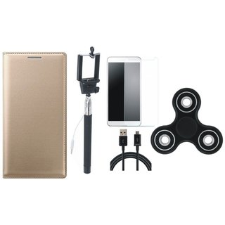 Lenovo A6600 Premium Leather Cover with Free Spinner, Selfie Stick, Tempered Glass and USB Cable
