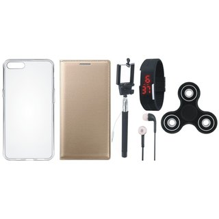 Lenovo A6600 Premium Leather Cover with Spinner, Silicon Back Cover, Selfie Stick, Digtal Watch and Earphones