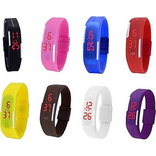 LED watches cum braslet pack of 8 for men, women and kids