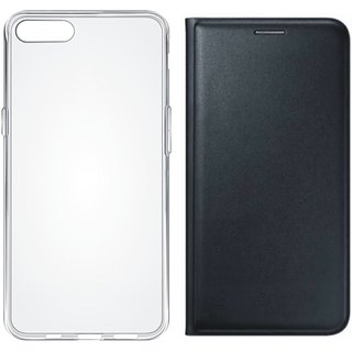 Lenovo A6600 Plus Leather Flip Cover with Silicon Back Cover, Free Silicon Back Cover