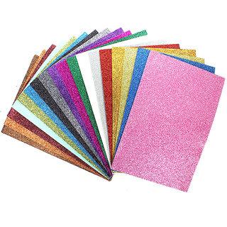Coloured Glitter Foam Sheet A4 , 200 gsm, 30 sheets - Assorted colors, diy crafts, scrapbooking