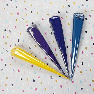 Ceramic Puffy Paint 120Gm-Purple/Royal Blue/Deep Aqua/Yellow