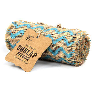 Jute,  Burlap roll chevron  - Blue