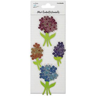 Glitter Embellishment Sticker - Flower Bunches