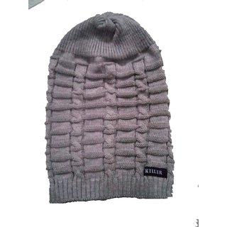 d0b5ae4b1 Fashionable Woolen Grey slouchy Beanie Cap
