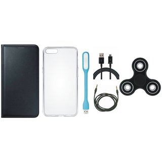 Lenovo A6600 Cover with Spinner, Silicon Back Cover, USB LED Light, USB Cable and AUX Cable