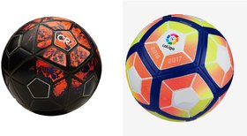 CR7 Black/Red  Football (Size-5) + Laliga Orange/Yellow Football (Size-5)