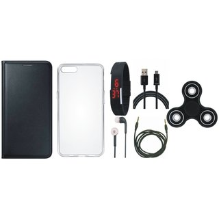 Lenovo A6600 Cover with Spinner, Silicon Back Cover, Digital Watch, Earphones, USB Cable and AUX Cable