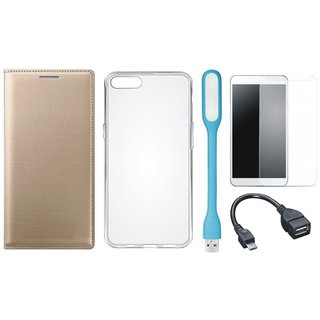 Lenovo A6600 Cover with Silicon Back Cover, Tempered Glass, USB LED Light and OTG Cable