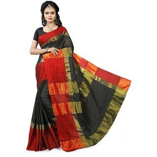 Gaurangi Creation Black & Red Cotton Silk Woven saree with blouse