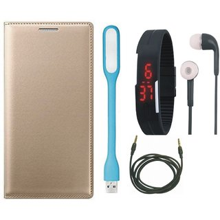 Lenovo A6600 Plus Leather Flip Cover with Digital Watch, Earphones, USB LED Light and AUX Cable